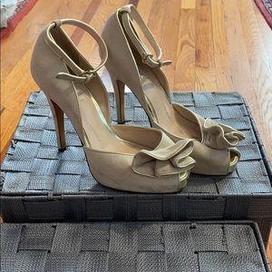Reiss Suede Ankle Strap Peep Toe Heels